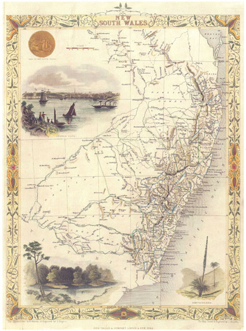 Tallis decorative map of New South Wales & Queensland from 1851