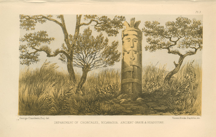 Ancient Grave and Headstone in Chontales, Nicaragua. Lithograph c1869.