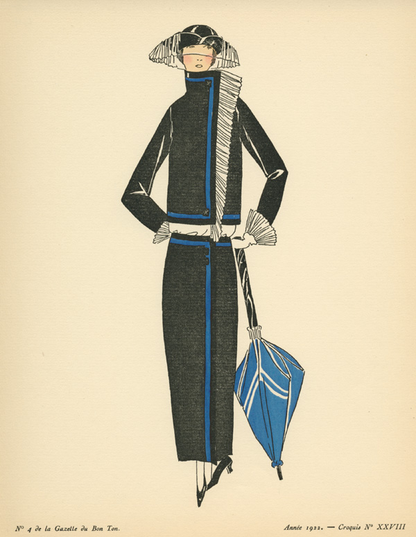 Wonderful Outfit with hat & brolly. Fashion Sketch 28, c1922.